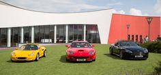 Lotus Elise, Ferrari 550 and Aston V8 Vantage S Roadster at Haynes Motor Museum  [5760x2688]