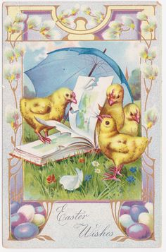 Pretty Vintage Easter Wishes Postcard with Chicks Reading a Book by thecedarchest on Etsy