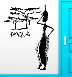 Africa African Woman Female Vinyl Wall Sticker Removable Decal Wall paper Home Decor home Decoration ~ African Home Decor ~ Olivia Decor - decor for your home and office. Vinyl Wall Stickers, Wall Decals, African Paintings, African Artists, African Home Decor, African Design, African Style, Art Africain, Wall Drawing