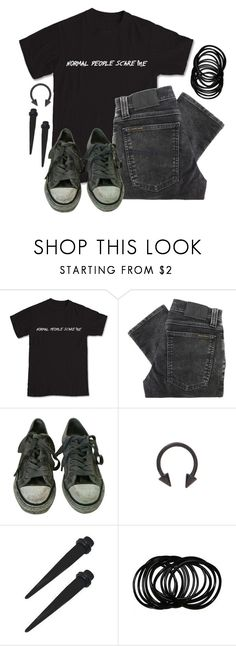 """""""Normal People Scare Me"""" by spnlex ❤ liked on Polyvore featuring Nudie Jeans Co. and AllSaints"""