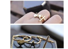 fashion Zinc Alloy Cross Heart Five-pointed Star Three-piece Rings