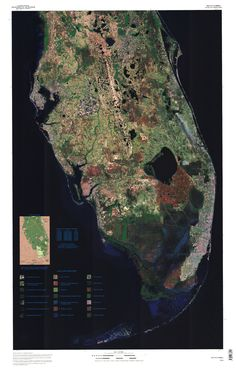 A satellite image of the lower Florida peninsula showing darkened portions south of Lake Okeechobee as the Everglades and Big Cypress swamp.The reddish area bordering the large inland lake is the Everglades Agricultural area South Beach, South Florida, Satellite Image Map, Everglades Airboat, Sequoia Sempervirens, Airboat Rides, Local Hotels, Everglades National Park, Hot And Humid