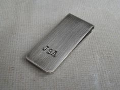 Money Clip Personalized Mens graduation gift Custom Initials on Skinny Moneyclip Under 20 Gift stainless steel one inch wide Graduation Gifts For Guys, Its A Mans World, Letters And Numbers, Money Clip, Hand Stamped, Valentine Day Gifts, Initials, Jewelry Design, Handmade Gifts