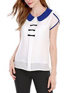 Allegra K Women's Peter Pan Collar Button Decor Back Blouse White XS