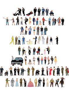 Quentin Tarantino movies poster. Reservoir Dogs, Pulp Fiction, Jackie Brown, Kill Bill Volume 1, Kill Bill Volume 2, Inglourious Basterds, Django Unchained