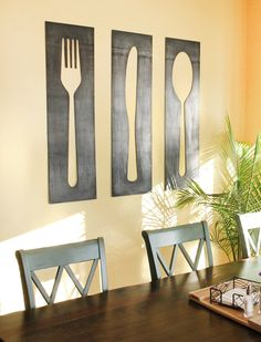 Fork Knife Spoon Wall Art Panel Set fork and spoon decor Kitchen Wall Art, Kitchen Decor, Kitchen Modern, Panel Wall Art, Metal Wall Decor, Fork Spoon Wall Decor, Home And Deco, Metal Walls, Dining Area