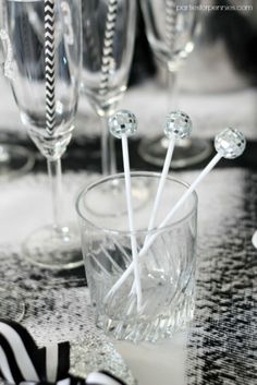 New Years Eve Party - Disco Ball Stirrers by PartiesforPennies.com