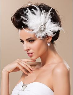 Gorgeous Feather With Rhinestones/ Tulle Wedding Bridal Headpiece - USD $ 7.99
