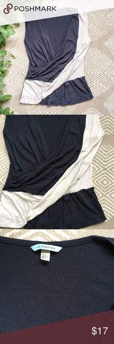 Anthropologie Leifnotes Top Dark gray and cream color. Size medium, perfect condition! Anthropologie Tops Blouses