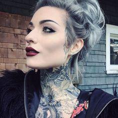 Ryan Ashley Malarkey is a tattooed vision! She pulls off intricately designed neck tattoos so well! Girl Neck Tattoos, Neck Tattoos Women, Sexy Tattoos, Body Art Tattoos, Sexy Female Tattoos, Best Neck Tattoos, Facial Tattoos, Feminine Tattoos, Tattoed Girls