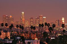 High quality skyline photo of Los Angeles, California. City skyline pic of Los Angeles, CA. Los Angeles Skyline, Downtown Los Angeles, Los Angeles At Night, Oh The Places You'll Go, Places To Travel, Places To Visit, Travel Destinations, Puerto Rico, Wyoming