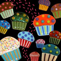fused glass cupcakes by jamie burress, via Flickr (cute idea for kids to make!)