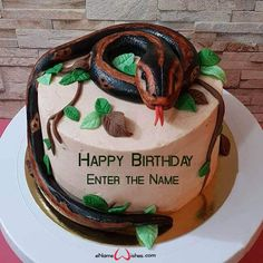 Snake Birthday Cake Designs with Name - eNameWishes Butterfly Birthday Cakes, Happy Birthday Cakes, Best Christmas Quotes, Christmas Fun, Images For Facebook Profile, Cake Images, Cake Designs, Birthday Celebration, Snake