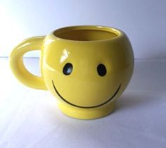 Smiley Face Mug Wide Big Mouth Happy Yellow Coffee Cup