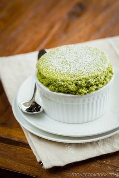 green tea souffle; the incredible warm fluffy texture of souffle accented with the unique bitter matcha flavor.
