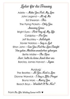 Die schönsten Lieder für eure Trauung | Hochzeitsblog - The Little Wedding Corner