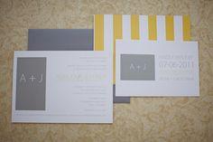 Modern grey and yellow invite suite. Earmark Invitations.