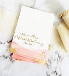 pink + gold foil placecards