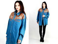 Vinatge Western Shirt / Denim Shirt / Men Cowboy Shirt / Jean Shirt Size XL by Ramaci on Etsy