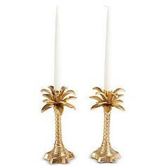Palm Leaf Gold Candle Holder - Waiting On Martha - 1