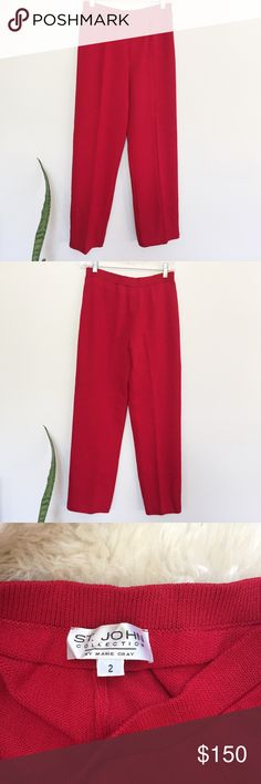 NWOT St. John Knits Cropped Knitted Red Pants Cropped ancle-length pants in excellent condition. Highest quality knit wear. Stretch in waist and super comfortable fit. Perfect for a vintage look! Last photo of similar style and fit. St. John Pants Ankle & Cropped