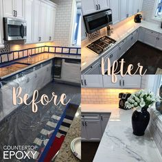 Received some gorgeous photos from a customer's countertop transformation! B… Received some gorgeous photos from a customer's countertop transformation! Bear used our White Marble Epoxy Kit over granite countertops. Painted Granite Countertops, Stone Coat Countertop, Faux Marble Countertop, Painting Countertops, Marble Countertops, Paint Laminate Countertops, Cheap Kitchen Countertops, Countertop Transformations, Countertop Makeover