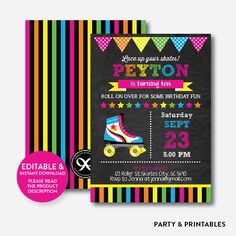 Roller Skate Pink... http://partyandprintables.com/products/roller-skate-pink-chalkboard-kids-birthday-invitation-editable-instant-download-ckb-548?utm_campaign=social_autopilot&utm_source=pin&utm_medium=pin #partyprintables #birthdayinvitation #partysupplies #partydecor #kidsbirthday #babyshower