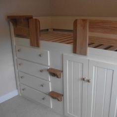 4 Drawer Cabin Bed Cream with Solid Oak Front Rail & Steps