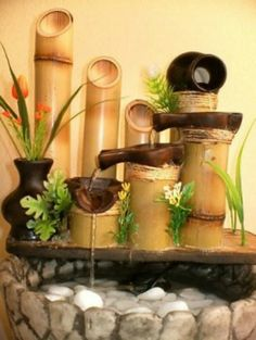 Feng Shui Fountains - Important Tips You Should Know About Fountains Indoor Waterfall Fountain, Bamboo Fountain, Tabletop Fountain, Indoor Fountain, Small Fountains, Garden Fountains, Water Fountains, Feng Shui Fountain, Indoor Water Features