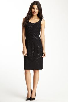 Nue by Shani -  Chevron Sequined Ponte Dress - lbd ~~~