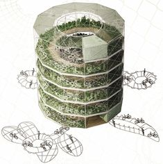 """The """"Spiral Garden!"""" The structure is designed to support community agriculture practices and because of its vertical construction, could store significantly more plots than traditional gardens."""