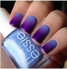 Purple ombre gradient by aubreyhannah. Colors used :: #essie – bikini so teeny, #sallyhansen – violet voltage and #chinaglaze – coconut kiss.