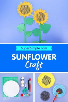 Make some beautiful sunflowers with paper plates and bubble wrap! Craft Activities For Kids, Kids Crafts, Craft Ideas, Easy Arts And Crafts, Simple Crafts, Preschool Class, Kindergarten Lessons, Easy Art For Kids, Diy For Kids