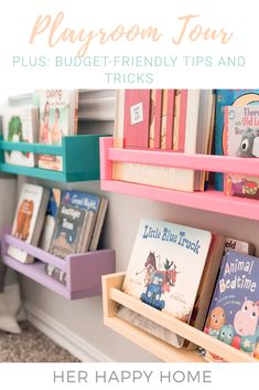 Our Playroom Tour On a Budget Her Happy Home playroom decor playroom idea playroom design playroom theme playroom ideas playroom book storage playroom decor play. Playroom Design, Kids Room Design, Playroom Decor, Bedroom Decor, Nursery Decor, Kid Decor, Playroom Paint Colors, Ikea Kids Playroom, Children Playroom
