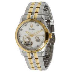 Bulova 98P123 Women's BVA Heart Aperture MOP White Dial Two Tone Steel Watch