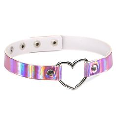 LWONG Gothic Opalescent Reflective Holographic Choker Necklace for Women PU Leather Chokers with Metal Heart Rainbow Chocker Hot Leather Chocker, Leather Choker Necklace, Collar Necklace, Pu Leather, Heart Choker, Neck Choker, Heart Ring, Holographic Choker, Harajuku