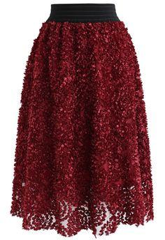 a54e01c3348 Flourishing Bloom 3D Flower Mesh Midi Skirt in Wine