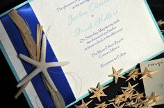 Starfish Wedding Invitation: Beach Wedding Invitation with Starfish Accent