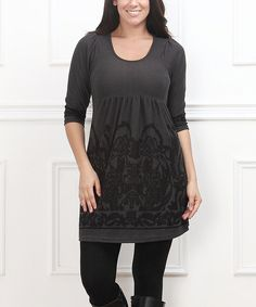 Look what I found on #zulily! Charcoal & Black Empire-Waist Dress - Plus by  #zulilyfinds
