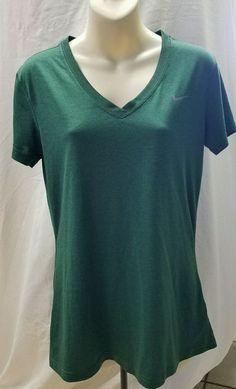 NIKE DRI-FIT Women's  V-neck top Size M Forest Green #Nike #ShirtsTops