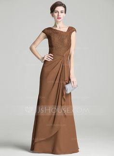 A-Line/Princess Floor-Length Chiffon Lace Mother of the Bride Dress With Ruffle Cascading Ruffles (008072714)