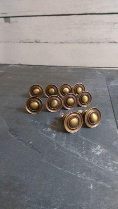 Round Brass Pulls/ Vintage Brass Drawer by VintageBrassRevival
