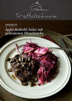 Apfel-Rotkohl-Salat mit gebratenen Hirschracks #apples