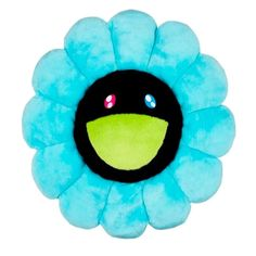 Takashi Murakami Takashi Murakami Blue And Black Flower Cushion Throw Rugs, Throw Pillows, Murakami Flower, Tiger Rug, Dog Throw, Takashi Murakami, Cute Stuffed Animals, Flower Pillow, Pillows