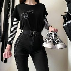 Gothic Outfits, Edgy Outfits, Grunge Outfits, Retro Outfits, Cute Casual Outfits, Tumblr Outfits, Mode Emo, Mode Hipster, Mode Swag