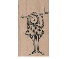 circus stamp girl on swing trapeze  rubber stamp by pinkflamingo61
