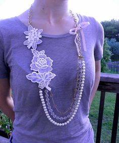 Tutorial: DIY Anthropologie Inspired Multi-Strand Necklace. Good idea. i have a bunch of patches that i dot know what to do with.