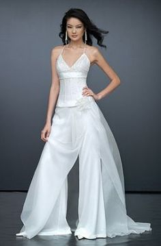 Wedding dresses with trousers for a modern woman -