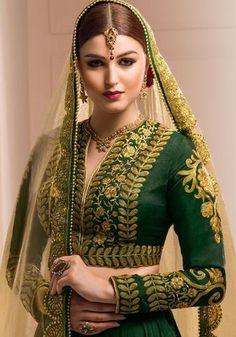 28abb98fc401b Bottle Green Art Silk Bridal Lehenga Online Shopping