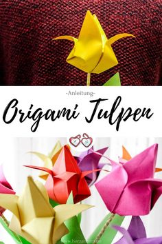 Künstlern Handicraft instructions: Fold origami tulips out of paper - simple DIY instructions to mak Origami Rose, Origami Diy, Origami Paper Art, Origami Butterfly, Origami Tutorial, Diy Paper, Paper Crafts, Diy Embroidery Flowers, Simple Embroidery